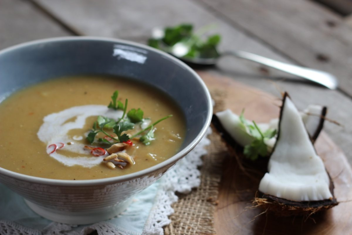 Spicy Roasted Sweet Potato and Coconut Soup