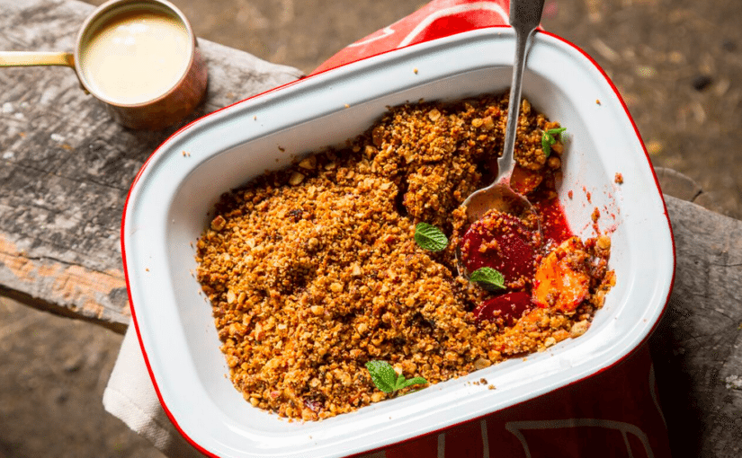 Thyme, Peach and Plum Crumble (and Amazing Custard)