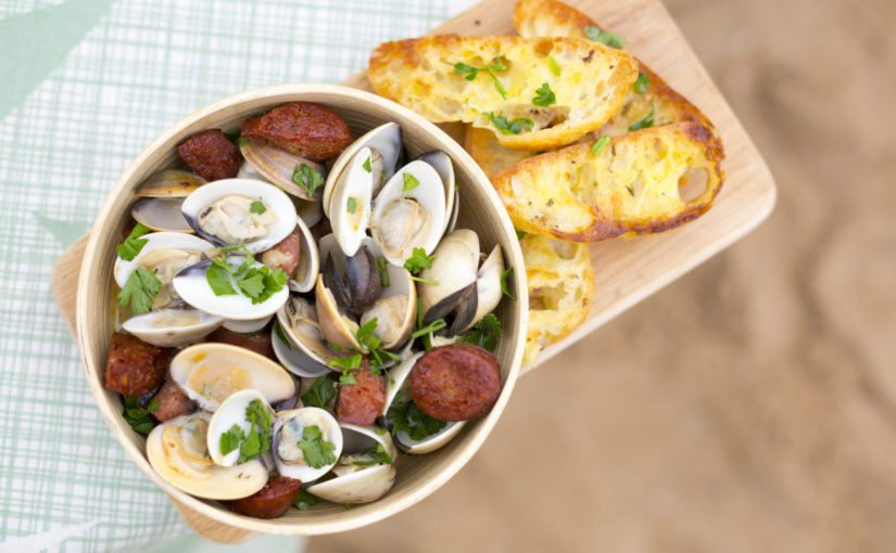 Beer-steamed Clams with Chorizo and Garlic Bread